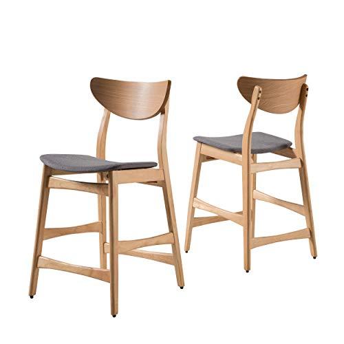 Christopher Knight Home Gavin Counter Chairs, 2-Pcs Set, Dark Grey / Oak Finish