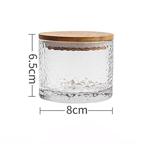 BCGT 200/250/320ML Glass Sealed Can With Bamboo Lid Transparent Coffee Seal Tank Storage Jars Bean Nuts Snack Storage Tanks Bottles (Color : S)