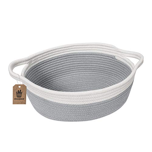 """Goodpick Small Woven Basket Cute Gray Rope Basket Cotton Basket Baby Room Storage Basket Dog Toy Basket with Handles Empty Gift Basket for Shelf 12""""x 8"""" x 5"""" Oval Candy Color Design"""