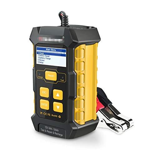 YaGFeng Probador De Batería De Coche Analizador De Baterías De 12V Automóvil De Baterías Herramienta De Escáner Automotriz Tester Multi Idiomas Adecuado para Coche Camión (Color : Yellow, Size : UK)