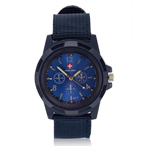 Orologi da uomo, Orologio da polso analogico elettronico, cinturino militare in nylon con cinturino rotondo(Blue)
