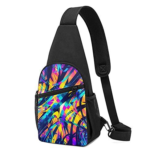 Bolsa de pecho ajustable ligero senderismo Daypack Sling Mochila unisex bolsa de hombro, 10 Abstract Colorful Striped Light Wave Irregular Art, Talla única