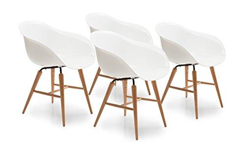 Kare Forum Wood Brown 4-delige set, moderne eetkamerstoel in retro design met armleuning Eén maat wit