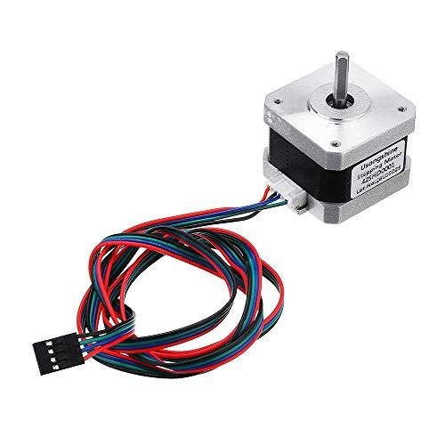 LONGWDS Printer Parts Nema 17 Stepper Motor Bipolar 4 Leads 34Mm 12V 1.5 A 26Ncm(36.8Oz.In) 3D Printer Motor 42Shd0001