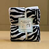 Zebra Stripes Anti-Pill No-Sew Throw Fleece Fabric Kit (50x60)