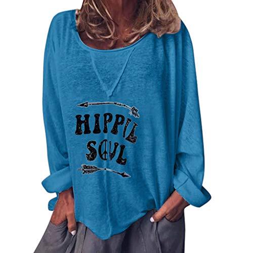 VEMOW - Maglia a maniche lunghe da donna, con scollo rotondo, a maniche lunghe, con lettera, per il tempo libero, stampa streetwear, taglie forti Blu 48