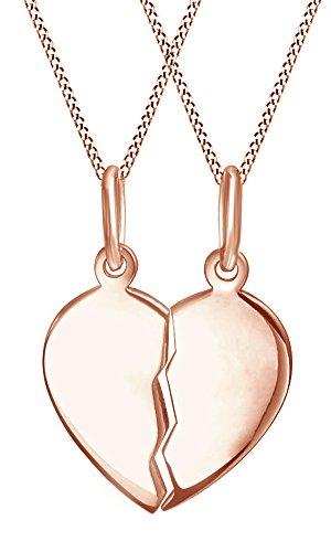 AFFY Holiday Sale Split Plain Broken Half Heart Pendant Necklace in 18ct Rose Gold Over Sterling Silver for Couples (18ct Rose Gold Plated Sterling Silver)
