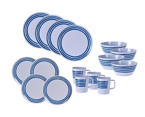 Melamin Camping Geschirr 16er Set - 4 Personen - Kunststoff Campinggeschirr mit Tellern, Schüssel und Tassen in weiß / blau