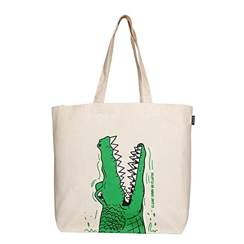 EONO Large Canvas Tote Borsa in Cotone Sacchetti di drogheria Riutilizzabile di Eco-Friendly Shopping Bag per Le Donne con Zip - Stampato Crocs - (Naturale) | 0201B03