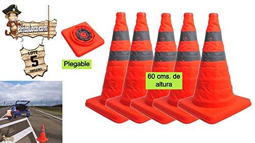 BricoLoco Pack 5 uds Cono señalización carretera plegable 60 cm 2 bandas...