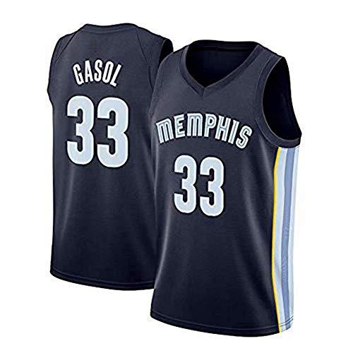Wo nice Camisetas De Baloncesto para Hombre, Memphis Grizzlies # 33 Marc Gasol Uniformes De Baloncesto Camisetas Sin Mangas Camisetas Sueltas Tops Deportivos,Negro,XL(180~185CM)