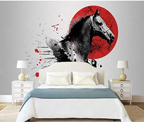 """3D Red Sun Black Horse WG0189 Behang Afdrukken Decal Deco Binnen Muur Muurschildering Zelfklevend Behang AJ WALLPAPER NL Muzi (Vinyl (geen lijm en verwijderbaar), 【 82""""x58""""】208x146cm(WxH))"""