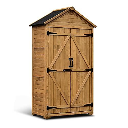 MCombo Gartenschrank Geräteschuppen Werkzeugschrank Outdoor-Schrank Gartenbox mit Satteldach aus Holz wasserfest Grau/Natur 1000D, 48 X 90 X 178 cm (Natur)
