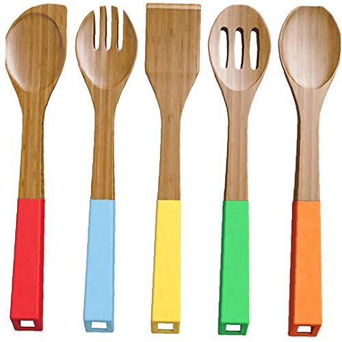Sungpunet 5 Stück Bambuslöffel Kochgeräte Holzlöffel Und Pfannenwender Utensil Set Bambusholz Nonstick Kochlöffel Küche Mit Bunten Griffen