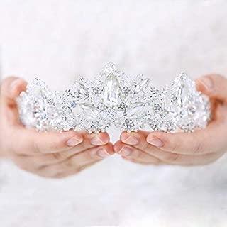 Aukmla Wedding Hair Accessories Bride Crowns Flower Queen Tiaras Headpiece for Women (Silver)