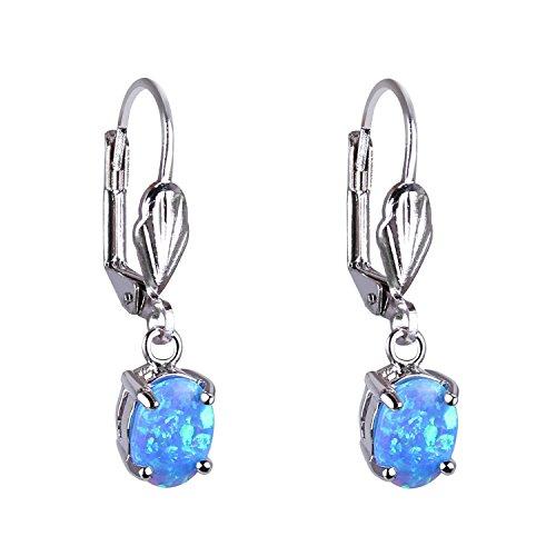 KELITCH Synthetisch Opal Ohrhänger Boho Damen Leuchter Ohrringe (Blau)