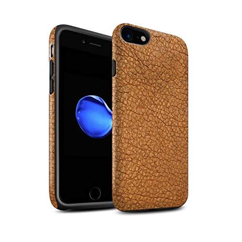 Stuff4® Matte Antiurto Custodia/Cover/Caso/Cassa del Telefono per Apple iPhone 7 / Cacao Marrone/Effetto Toppa in Pelle Disegno