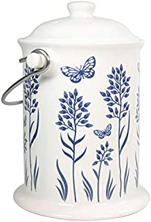 Frontier Natural Products Co-op 223693 Culinary Accessories Cleaning Solutions Ceramic Floral Blue Compost Keeper 8 x 10