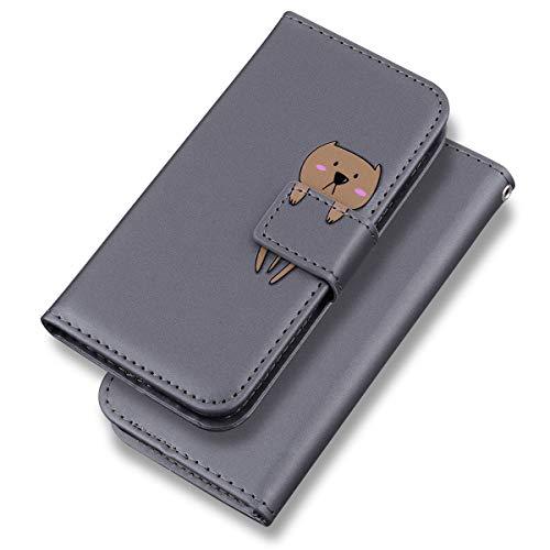 Suhctup Funda de piel sintética compatible con iPhone 6 Plus/6S Plus de 5,5 pulgadas, con diseño de oso marrón y estampado de oso, piel sintética con función atril, con tarjetero, color gris