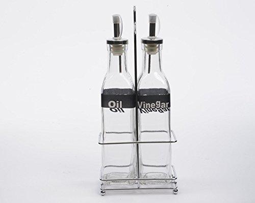 Glazen flessen azijnfles oliefles azijn- en oliefles met metalen mand