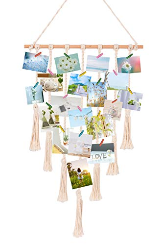 TIMEYARD Macrame Wall Hanging Polaroid Photo Frame Display - DIY Picture Organizer Boho Home Décor, with 30 Wood Clips