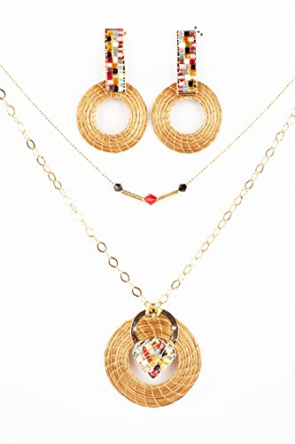 Collar Mandala en Oro Vegetal con Cristales gargantilla y pendientes
