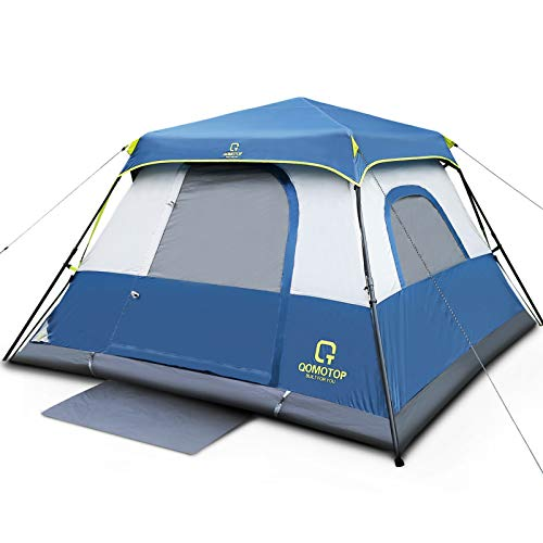 OT QOMOTOP Tents, 6 Person 60 Seconds Set Up Camping Tent, Waterproof Pop Up Tent with Top Rainfly, Instant Cabin Tent, Advanced Venting Design,...