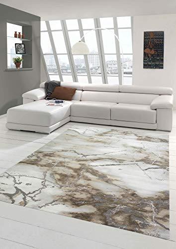 Merinos Tapis en marbre avec Fibres lustrées Beige Größe 160x230 cm