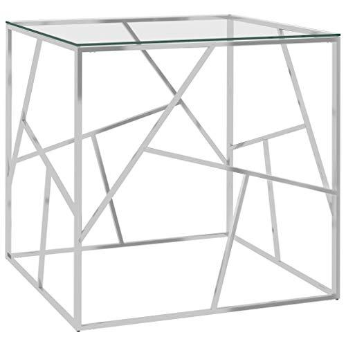 Wakects Mesa de centro para salón, moderna mesa de café, 55 x 55 x 55 cm, mesa auxiliar de acero inoxidable y cristal, diseño transparente