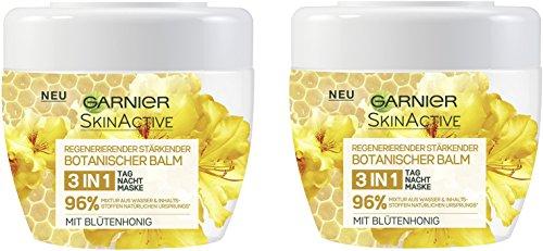 Garnier Botanischer Balm 3-in-1 Tages-, Nachtpflege und Maske mit Blütenhonig, schützt, pflegt und repariert trockene Haut intensiv, 2er-Pack (2 x 140 ml)
