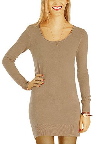 bestyledberlin Damen Kleider, Pulloverkleid, Langarm Strickkleider, Langes Pullover Oberteil t64z beige S/M