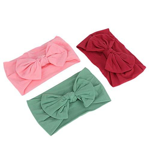 Mothinessto Banda para El Cabello para Bebés, Material De Nailon Banda para El Cabello Linda para Bebés Envolturas para La Cabeza De Niña Cómodas para El Ocio Navideño para(Vino Tinto + Verde + Rosa)