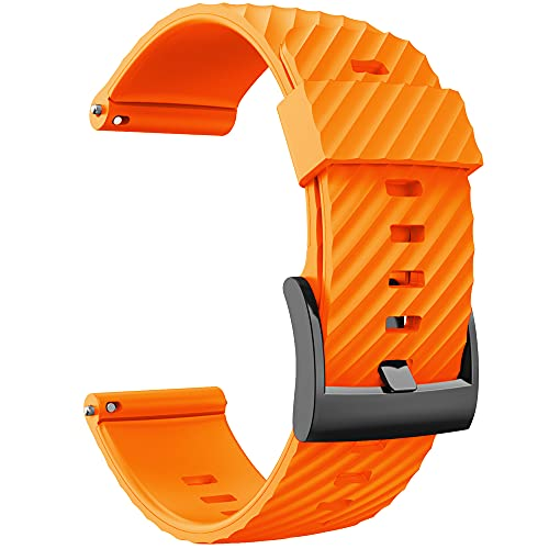 KINOEHOO Correas para relojes Compatible con Suunto 7/9/9 baro/D5/spartan sport Pulseras de repuesto.Correas para relojesde silicona.(naranja)
