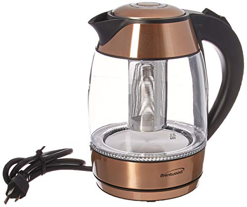 Brentwood KT-1790RG 1.7L Stainless Steel Cordless Electric Kettle, Rose Gold