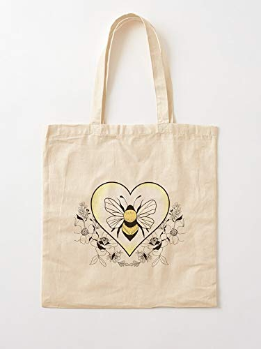 Bees The Insect Heart Bee Bug Save Honey Floral Flowers Tote Cotton Very Bag | Canvas Grocery Bags Tote Bags with Handles Durable Cotton Shopping Bags