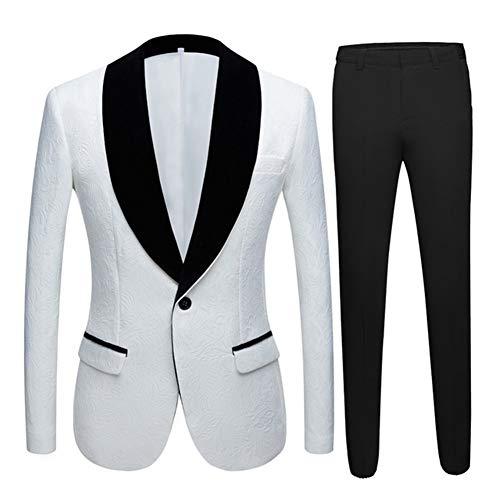 RDBH 男性のプラスサイズイエロー・ピンク・ブルーのスーツタキシードジャケット2ピース新郎Ternoスーツ喫煙メンズ結婚式のスーツ (Color : 白い, Size : US 48R EU 58)
