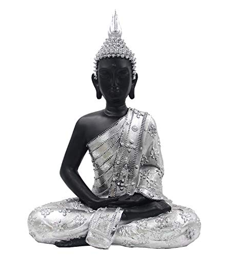 DharmaObjects Silver Tone Thai Buddha Meditating Peace Harmony Statue (16 Inches, Silver Meditation)