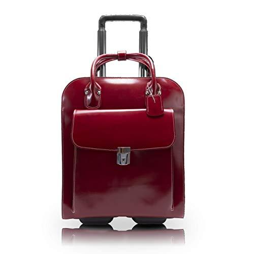 McKlein, L Series, Uptown, Top Grain Cowhide Leather, 15' Leather Vertical Wheeled Ladies' Laptop Briefcase, Red (97696)