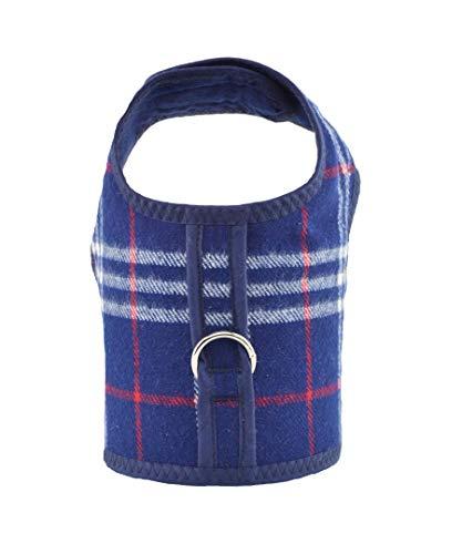 Blue Plaid Bushed Cotton Dog Cat Vest Harness