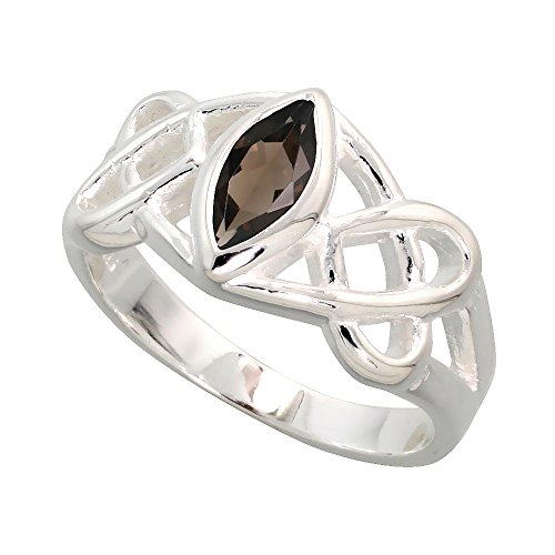 Sterling Silver Celtic Motherhood Knot Ring with Natural Smoky Topaz 3/8 inch Wide, Size 7
