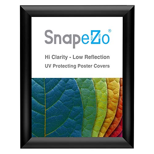 SnapeZo Poster Frame 8x10 Inches, Black 1 Inch Aluminum Profile, Front-Loading Snap Frame, Wall Mounting, Sleek Series