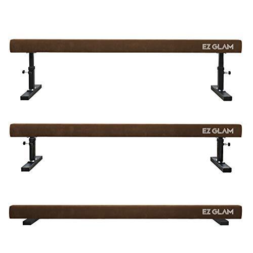 EZ GLAM Gymnastics Adjustable Balance Beam 8 Ft 6Ft Wood Core Skill Performance Home Training Gymnastics Equipment (Brown, 8.00)