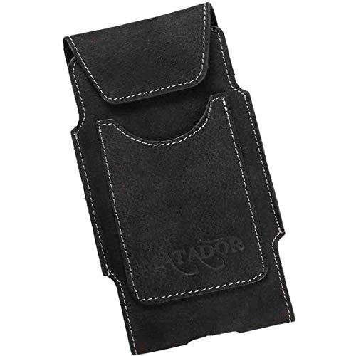 MATADOR Handytasche kompatibel mit iPhone 6 / 6s / SE (2020) Echt Leder Hülle Tasche Hülle GürtelClip Gürtelschlaufe Crazy Black/Schwarz