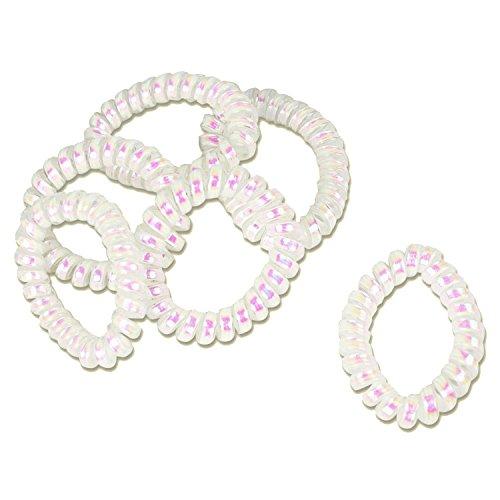 6X Madreperla elastici per capelli elastici (spirale plastica)