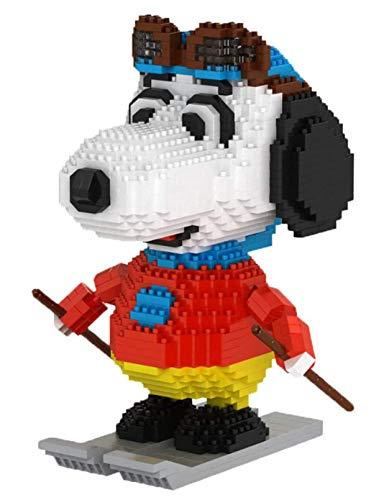 Perro De Esquí Nano Micro Blocks 3D Puzzle DIY Juguetes, Modelo Snoopy, Puppy Blanco Encantador para Niños Regalos (1580 PCS)