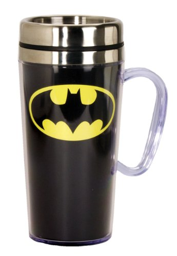DC Comics Batman Logo Insulated Travel Mug, 15 ounces, Black
