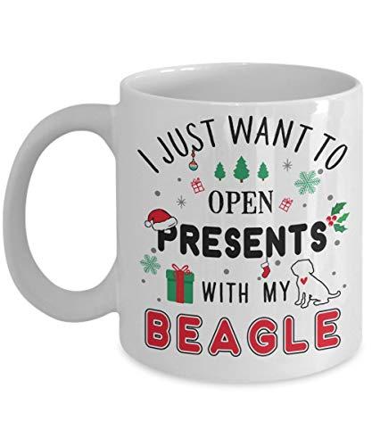 Divertente tazza da caffè in ceramica con beagle natalizio - Voglio solo aprire i regali con il mio Beagle   Miglior regalo di Natale, compleanno per amanti dei cani, nonno, papà, mamma, ragazzo - bia