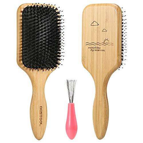 BESTOOL Haarbürste, Wildschweinborsten Bürste mit Nylonstiften, Professionelle Bambus Paddel Bürste zur Haarentwirrung und Detangling (Paddle)