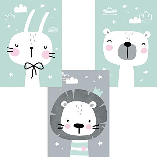 LALELU-Prints | A4 Bilder Kinderzimmer Poster | Zauberhafte Tiere nordic mint | Babyzimmer Deko Junge Mädchen | 3er Set Kinderbilder (DIN A4 ohne Rahmen)