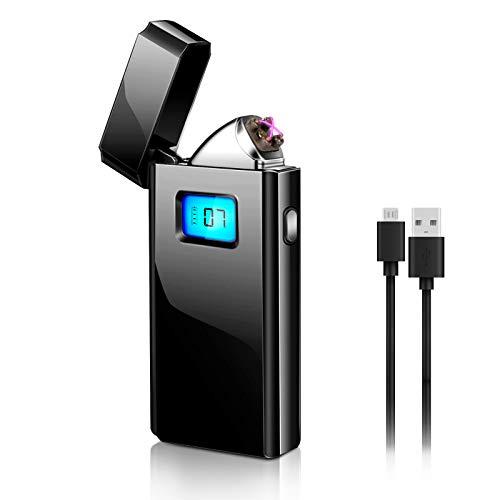 Aceshop Mechero Electrico, Encendedor Electrico Doble Arco USB Recargable Sin Llama Resistente al Viento Mechero Plasma Encendedor con Pantalla LED para Cocina, Velas, Cigarrillos y Cámping